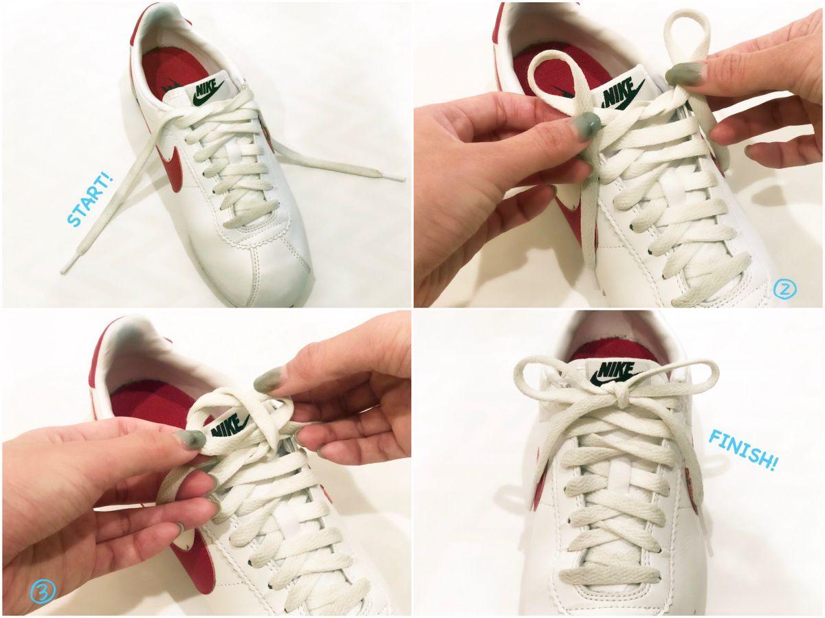 靴紐結び方スニーカー リボン