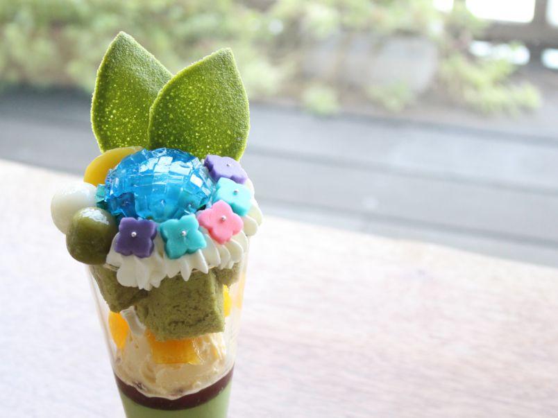 京都・八坂神社の目の前!季節限定・6月は紫陽花がかわいい、とっておきの抹茶パフェ