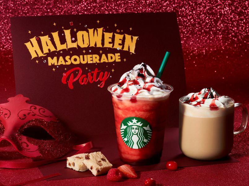 スタバでもハロウィン!マスカレードをテーマに真っ赤で妖しげな『ハロウィンレッドナイトフラペチーノ®』が登場