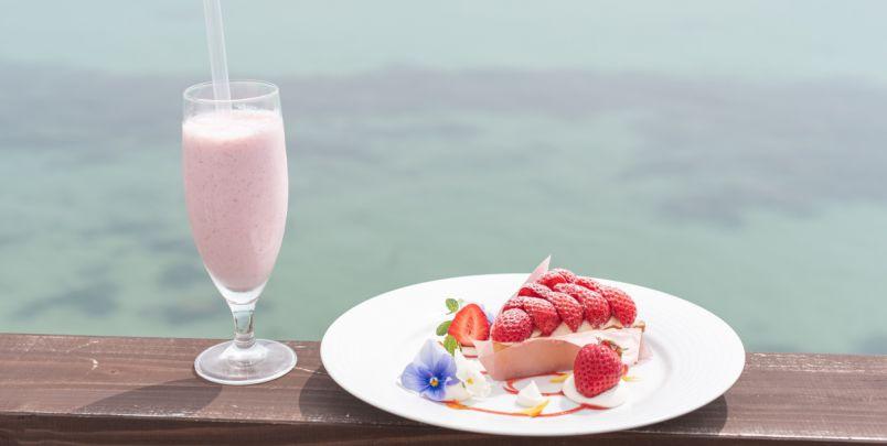 全席オーシャンビューの絶景!糸島の海辺のカフェ『HACHIDORI』であまおうのいちごタルトとスムージーを味わう