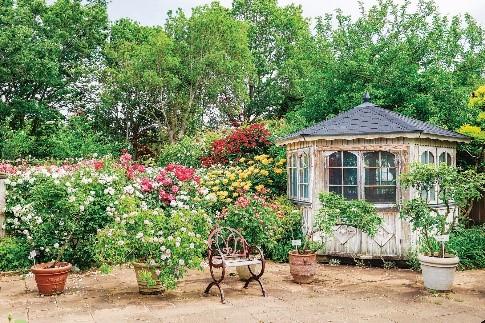 小さな一軒家が童話の世界観を思わせるシャビーシックな庭「ラベンダーとハーブのシークレットガーデン」