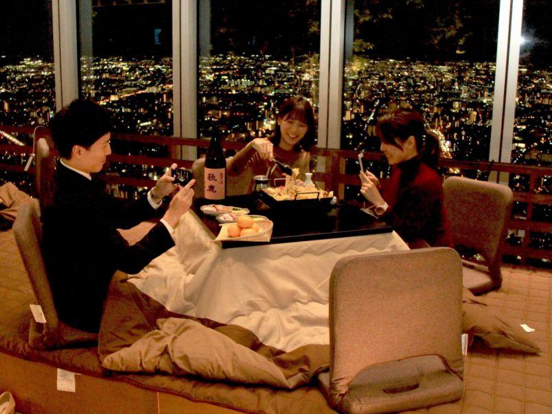 こたつ×お鍋×夜景‼︎ 日本一高い「あべのハルカス」で、鍋を囲もう!
